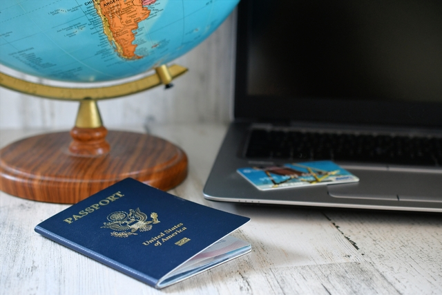 passport laptop and credit card